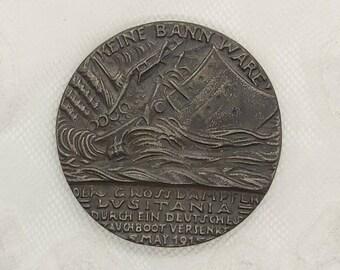Antique Cast Iron Selfridge's Sinking of The Lusitania Propaganda Medallion, British Replica of the Original German Medal, c.1916.