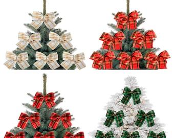 5X Red and Gold Christmas Tree Bows Bow Decoration Gift Ornament Merry XMAS Hand Made 2020 UK Check Checker Squared