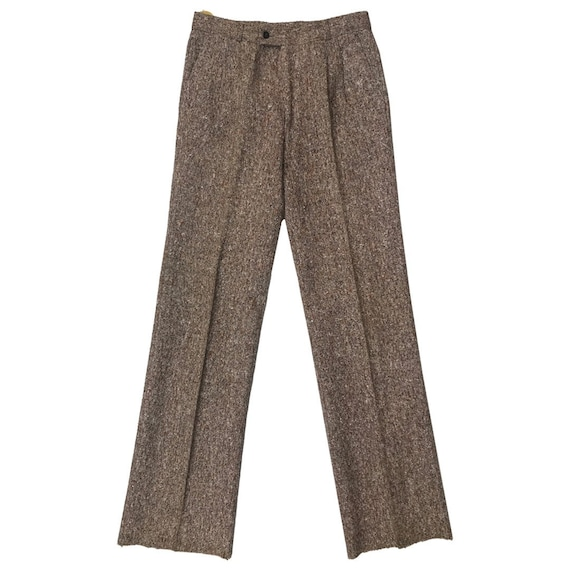 70s Womens Tweed Flared Trousers