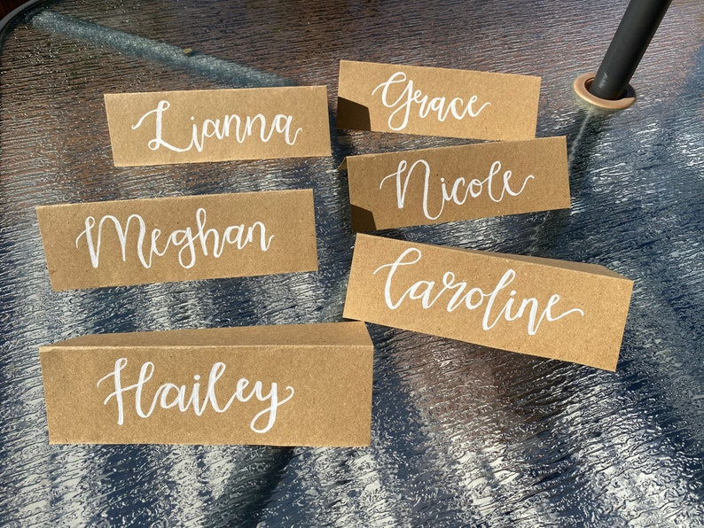 Rustic Custom Namecards with Cute Calligraphy