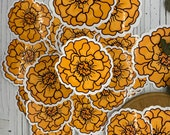 Mexican Marigold Sticker, the Cempasúchil or Flowers for Day of the Dead, Glossy Sticker