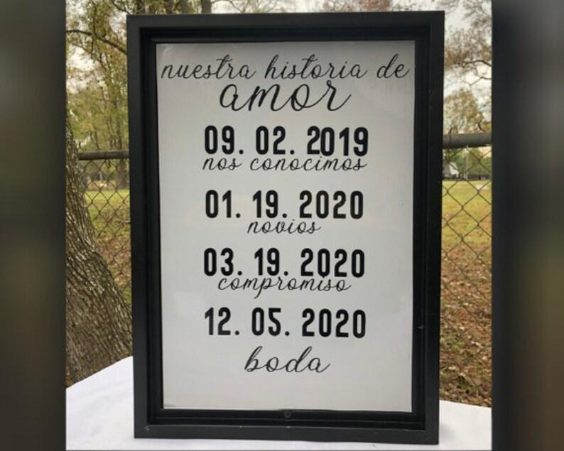 nuestra historia de amor couple Custom Wedding Frame engaged Wedding Decor our love story married decoracion para boda Date they met