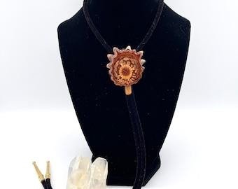 Vintage-Inspired Knobcone Pine Chip Bolo Tie