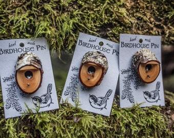 Handmade Wooden Birdhouse Pin