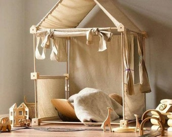 Wooden Indoor and Outdoor Playhouse/Kids Playhouse/ Canvas Teepee Tent/ Toddler Gift