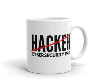 Hacker (Crossed Out) Cybersecurity Pro - Cyber Security Mug, Infosec Mug, Computer Hacking Mug, Hacker Mug, Computer Science Mug