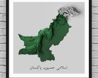 Pakistan Relief Map   Printable Decor