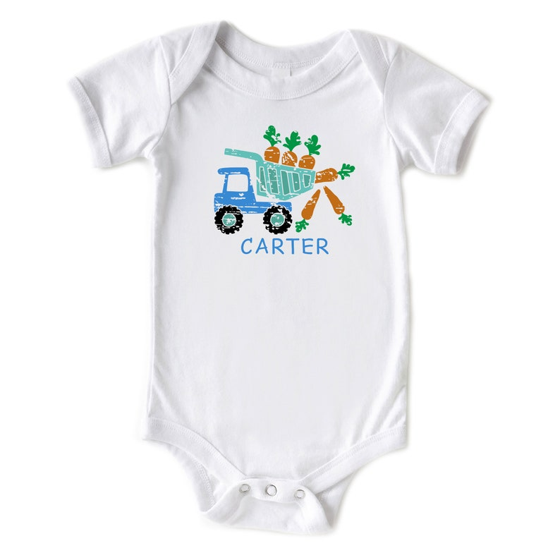 Infant Bodysuit Personalized Easter Outfit Easter Dump Truck Custom Name Onesie\u00ae