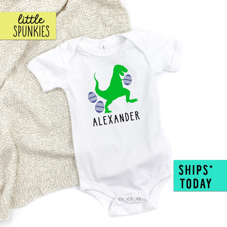 Personalized Easter Outfit Infant Baby Bodysuit Custom Name Easter T-Rex Onesie\u00ae