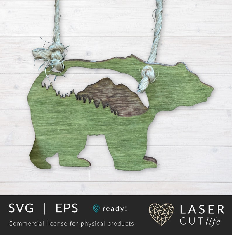 Rustic Bear with Mountains & Pine Trees Ornament Glowforge image 0