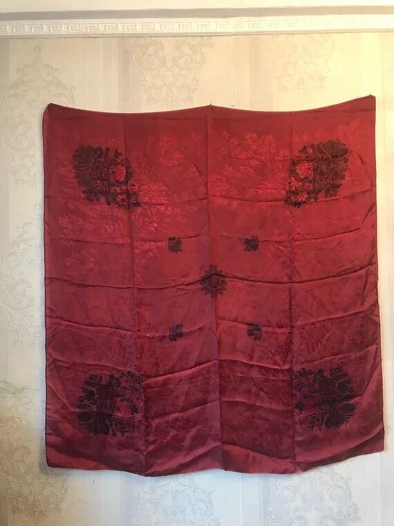 Vintage silk shawl, burgundy jacquard shawl. large