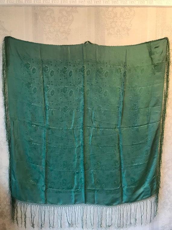 Vintage silk shawl, green jacquard shawl. large sc