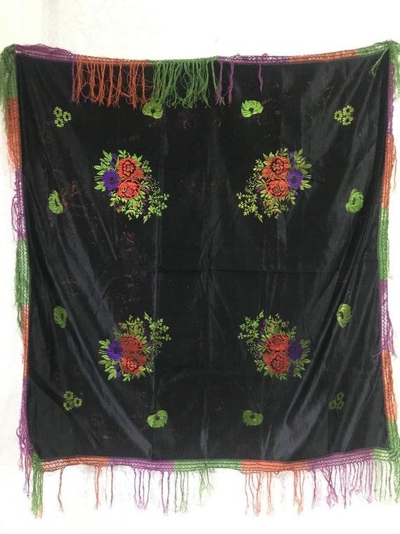 antique silk scarf before 1917, beautiful silk sca