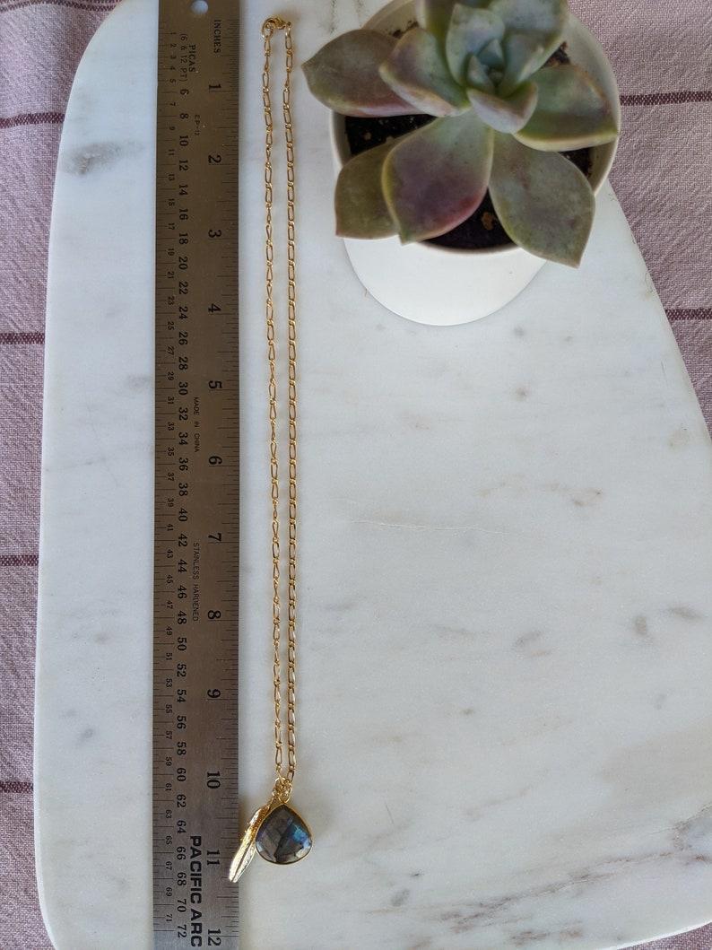 Labradorite Necklace Gold Blue Labradorite Necklace Raw Labradorite Pendant Gold Feather Charm Labradorite Crystal Pendant