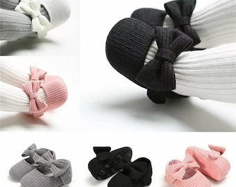 Baby girl crib shoes first walker baby girl Newborn girl soft shoes baby girl shoes with bows baby girl ribbed cotton shoes