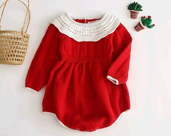 Baby Red knitted dress| Toddler Christmas Dress|Baby Dress|Baby Winter dress|Red knitted Romper|Baby Girl Dress|Baby Romper|Baby Jumpsuit