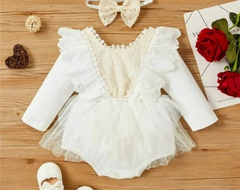 Baby girl white romper with headband white lace Long sleeve jumpsuit Cake Smash Outfit First Birthday Outfit boho vintage baby girl