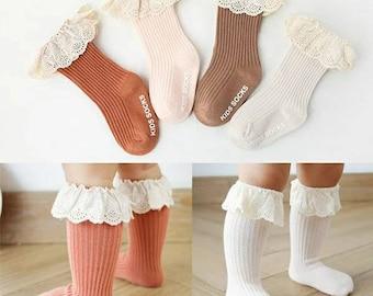Boho newborn toddler baby girl lace top knee high socks/baby girl knee socks/ baby girl lace socks/baby girl socks/baby girl non skid socks