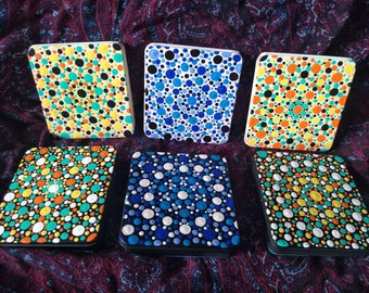 Handpainted Recycled Tin - cigar case, cigarettes, cigarette holder, storage, recycle, paint, dots, dot, hippie, boho, metal container