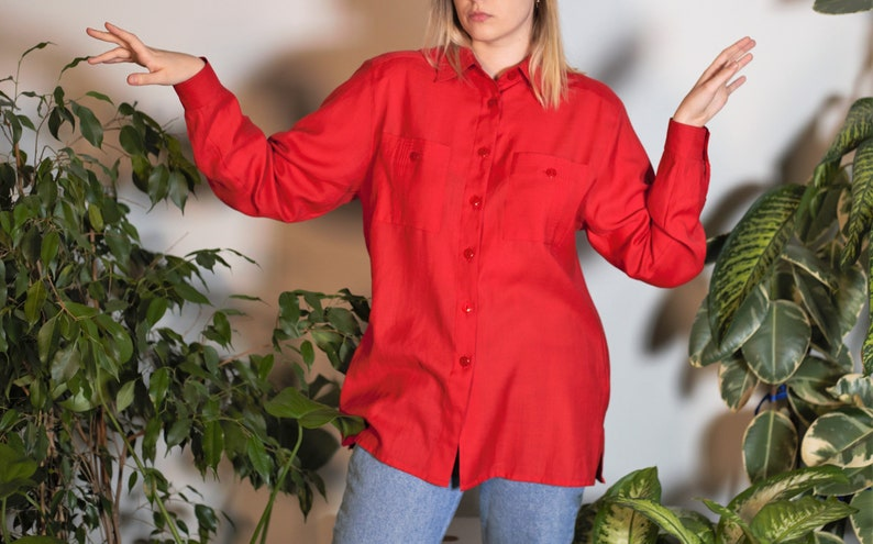 Vintage Red Blouse Longsleeve Wool Blend Unisex Casual Lightweight Button Down Long Sleeve with Pockets 80s 90s Size L Large UK 14