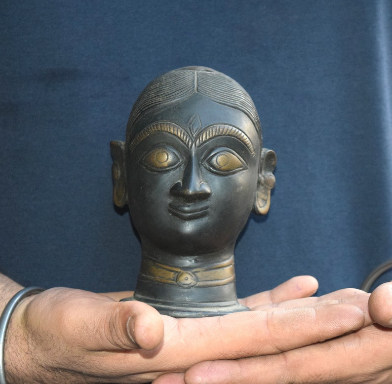 Antique Head of Indian Goddess Kali Brass Angry Deity Face