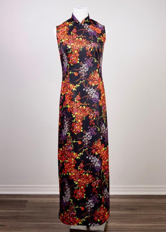 70's Mandarin Collared Maxi Dress