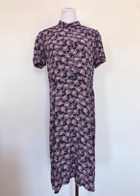 80's Samuel Blue Floral Print Dress