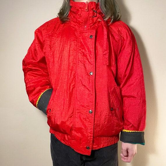 Vintage Red Rainbow Reversible Waterproof Jacket