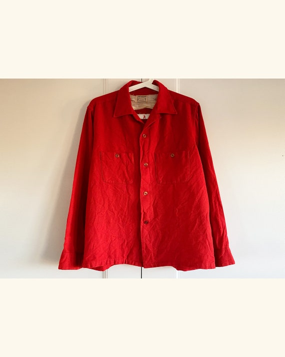Vintage 50s Sears Roebuck Co Pilgrim Red Shirt