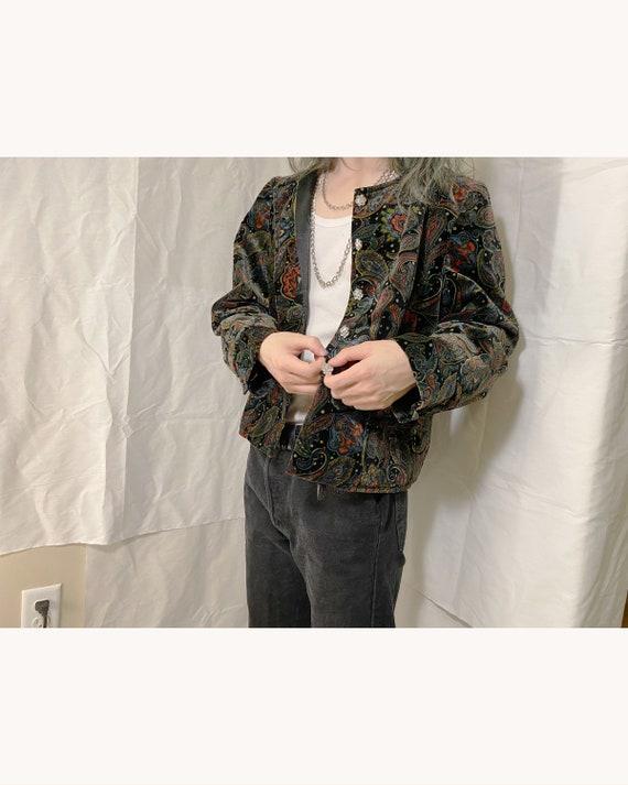 Vintage Velvet Paisley Pattern Blazer