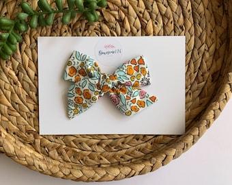 Orange Blue NEON Hair Bow---Mini Funky Fun Over the Top Bow--NEON Animal Prints---Yellow Hot Pink