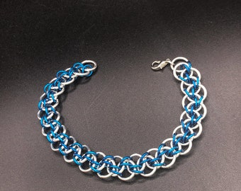 reversible chainmail cuff unisex cuff Reversible chainmail bracelet Japanese weave aluminum chainmail bracelet two looks in one
