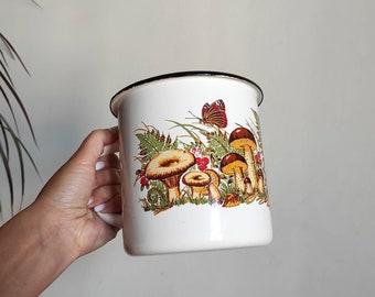 Vintage enamel mushroom mug Cottagecore mug