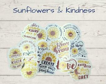 Sunflowers & Kindness journal scrapbook stickers