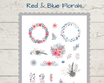Red & Blue Spring Floral journal scrapbook stickers