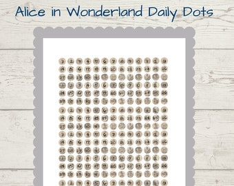 Alice in Wonderland Vintage-style Daily Dots mini journal stickers