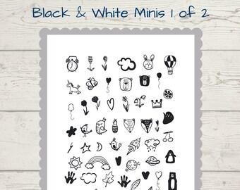 Black & White mini journal stickers