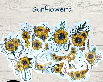 Sunflower journal scrapbook stickers