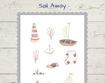 Sail Away nautical journal scrapbook stickers