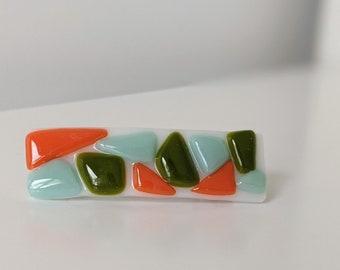 Art Deco Barrette - Fused Glass - Orange, Green & Minty Blue