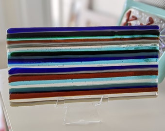 Oceanview Art Glass Tile - glass strip construction with blues, greens, vanilla and gold