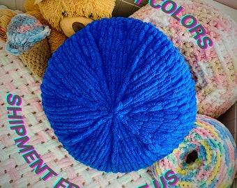 Blue round cushion, Cute round throw pillow