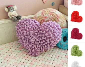Purple heart shaped plush knit pillow