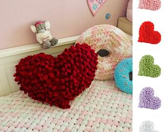 Knit plush heart pillow, Burgundy love heart trow pillow