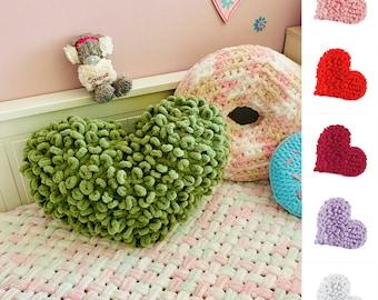 Green heart pillow, Love pillow, Plush pillow, Knit pillow, Crochet pillow, Heart throw pillow, Heart shaped pillow