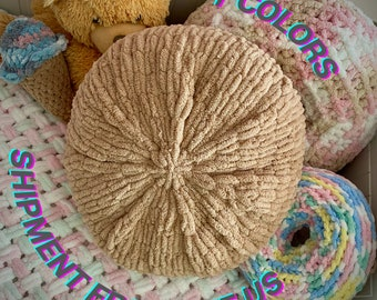 Brown decorative round pillow, Cute throw pillow