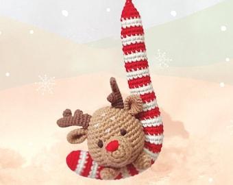 Xmas reindeer candy cane ornament - handmade crochet stuffed Christmas tree decor or Secret Santa gift