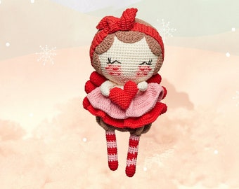 Valentine Doll - Red Princess Doll, Amigurumi doll, sweet Valentine love basket for her, gift for him, handmade gift, personalized gift