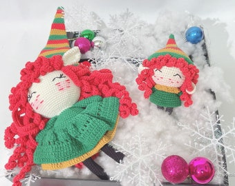 Elf doll - stuffed doll, baby doll, knit doll for baby Christmas Thanksgiving gift basket