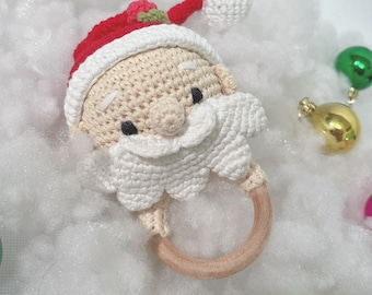 Red Santa Claus baby rattle ring - crochet wooden gender neutral baby gym toy for first Christmas gift
